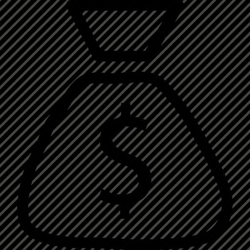 bagful, buck, dollars, sack, web and mobile ui icon
