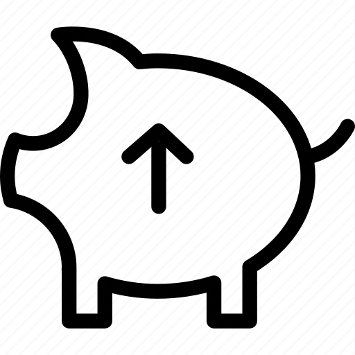 bank, coin, increase, pig, piggy, up, web and mobile ui icon
