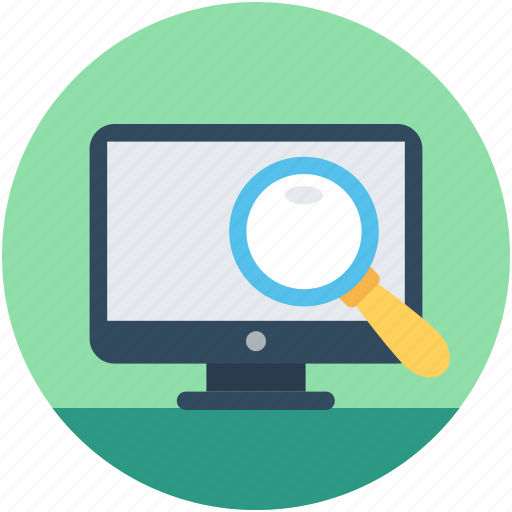 computer search, magnifier, search browse, search results, search screen icon