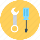 garage tool, reparing tools, screwdriver, settings, tools icon