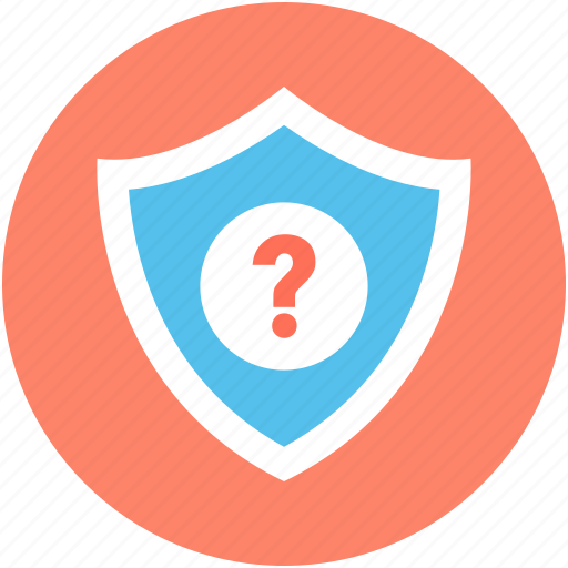 protection, question mark, safety, security element, shield icon