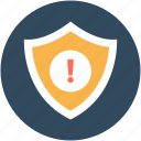 alert, attention, exclamation mark, security warning, shield icon