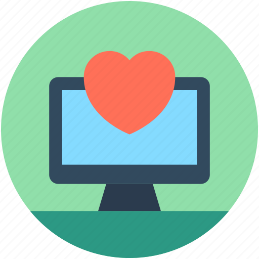 heart, led, monitor, online dating, online love icon