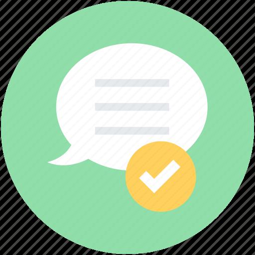 chat balloon, chat bubble, comments success, sent message, speech bubble icon