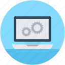 cog, cogwheel, gear, laptop settings, options icon