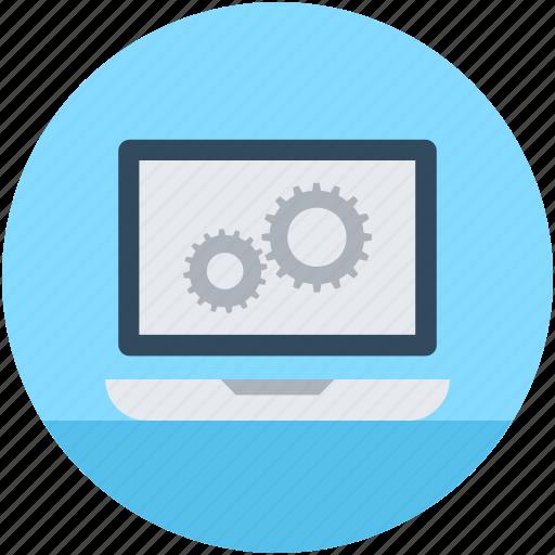 cog, cogwheel, gear, laptop settings, options icon