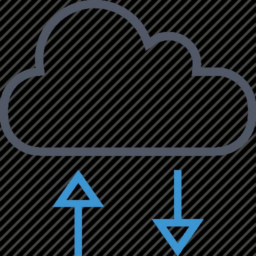 arrows, cloud, data icon