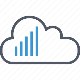 bars, cloud, signal icon