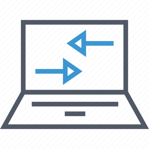 communication, laptop, server icon