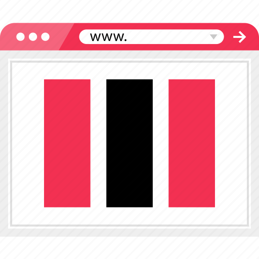 brower, columns, gallery, online, page icon