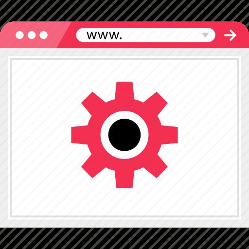 gear, graph, online, report, web icon