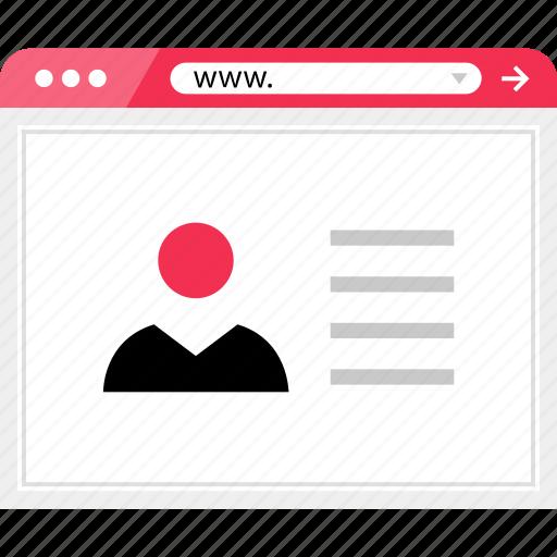 online, profile, user, web icon