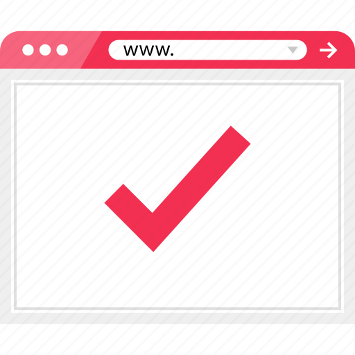 brower, check, mark, ok, wireframe icon