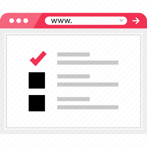 check, list, mark, page, view, wireframe icon