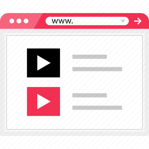brower, list, play, video, youtube icon