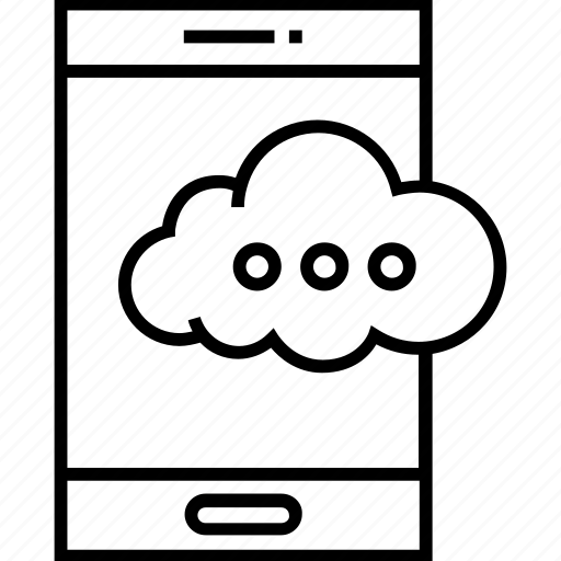 cloud, data on mobile, hosting, mobile, mobile data icon