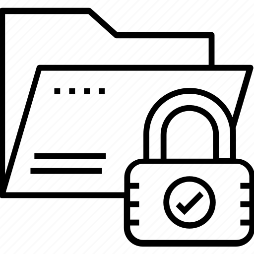 folder, lock, padlock, protected, secure data folder icon