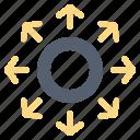 arrow, circle, data, network
