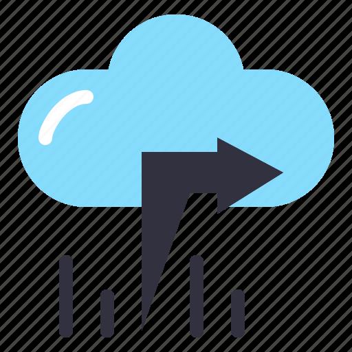 arrow, cloud, left icon