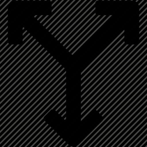 arrows, bifurcation, bifurcation direction, directions, double arrow icon