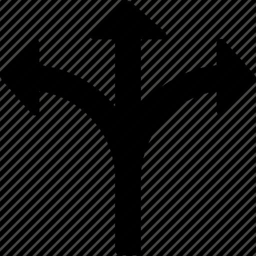 arrows, bifurcation sides, opposite, side arrows, triple arrow icon