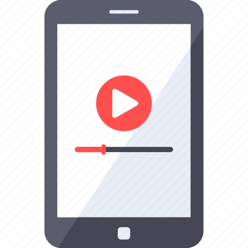 analytics, buffering, mobile, play, smartphone, streaming, video icon