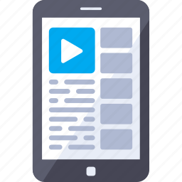 analytics, channel, mobile, smartphone, video icon