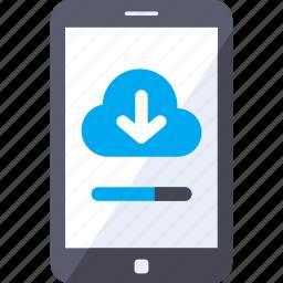 analytics, download, memory, mobile, storage, video icon