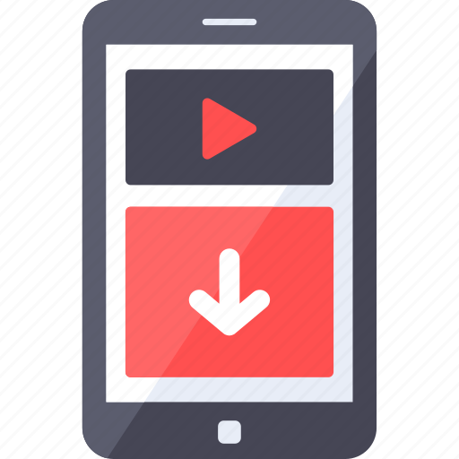 analytics, download, format, mobile, smartphone, video icon