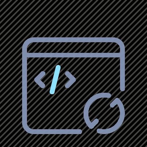 app, code, developer, sync, syncing, web, window icon