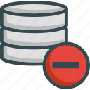 data, database, eliminate, forbidden, minus, server, storage icon