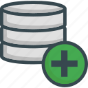 add, data, database, new, plus, server, storage icon