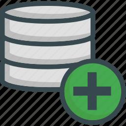 add, data, database, new, plus, server, storage icon