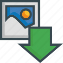 arrow, download, image, import, photo, save, storage icon