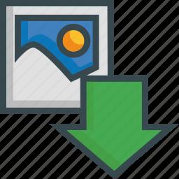 arrow, download, image, import, photo, save, storage icon