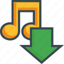 arrow, download, import, music, save, sound, storage icon