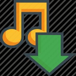 arrow, download, import, music, save, sound, storage icon