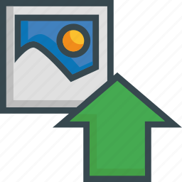 arrow, image, load, photo, save, storage, upload icon