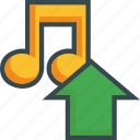 arrow, export, load, music, save, storage, upload icon