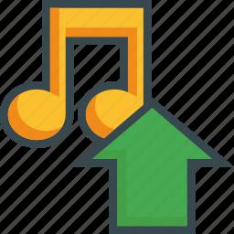 arrow, export, load, music, save, storage, upload icon