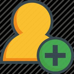 add, avatar, create, human, new, person, user icon