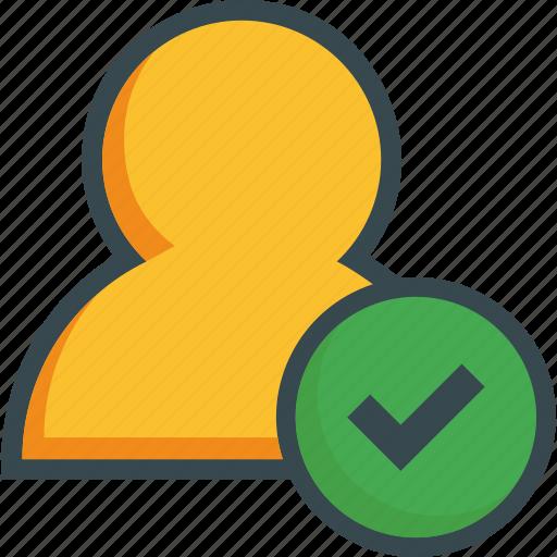 avatar, check, done, ok, person, tick, user icon