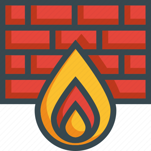 bricks, fire, firewall, internet, security, wall icon