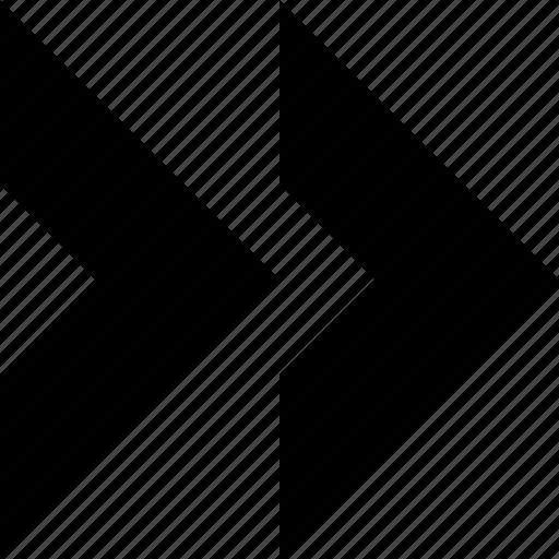 arrow, chevron, direction, double, navigation, previous, right icon