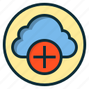 add, botton, cloud, database, idea, plus, storage icon