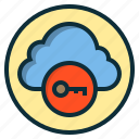 botton, cloud, data, key, lock, protection, security icon