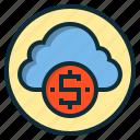 botton, cloud, dollar, money, payment, sign, web