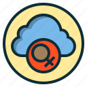 botton, cloud, female, sign, web icon