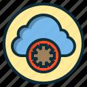 botton, cloud, gear, internet, web icon