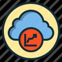 botton, cloud, data, diagram, graph, report, statistics icon